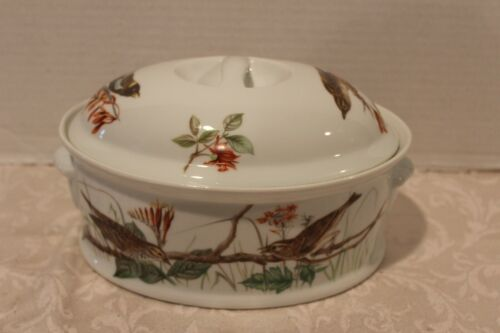 Louis Lourioux Le Faune Oval Covered Casserole Dish Birds France Vintage Tureen