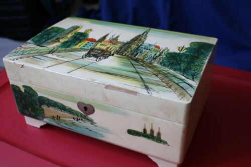 Vintage Wooden Painted Musical Jewelry Box, Royal Japan