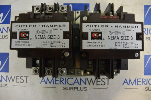 Cutler Hammer C10EN3 Size 3 Contactors Interlocked with backplate 120v coil