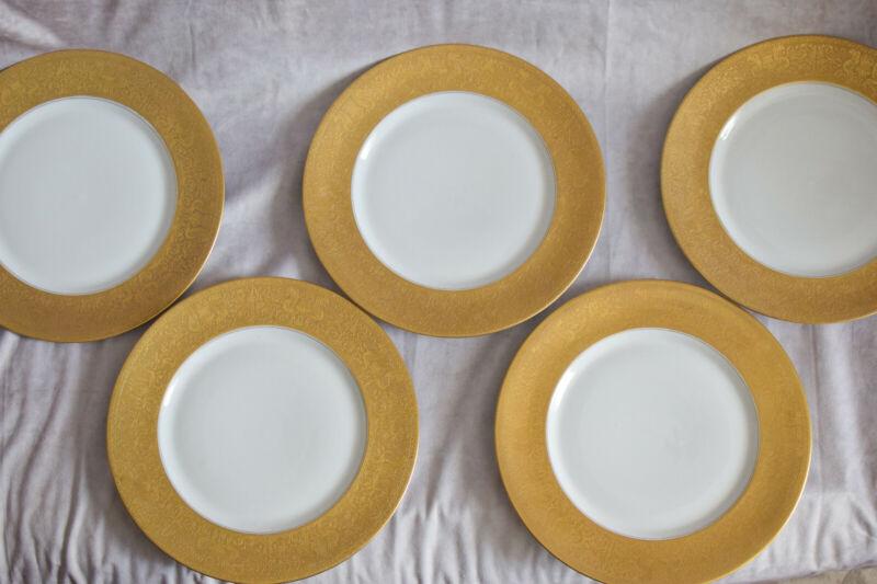 "Heinrich & Co Selb Bavaria Gold 11"" Gold Embossed Antique Dinner Plates Set of 5"