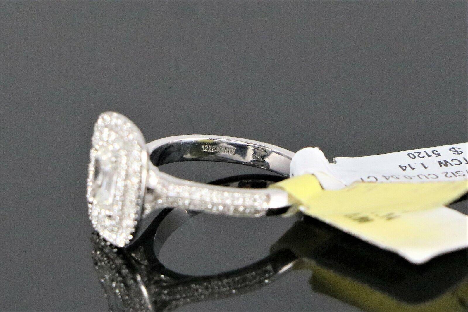 $5,150 S&S 14K White Gold 1.14ct GIA SI2 Cushion Diamond Halo Engagement Ring 6 9