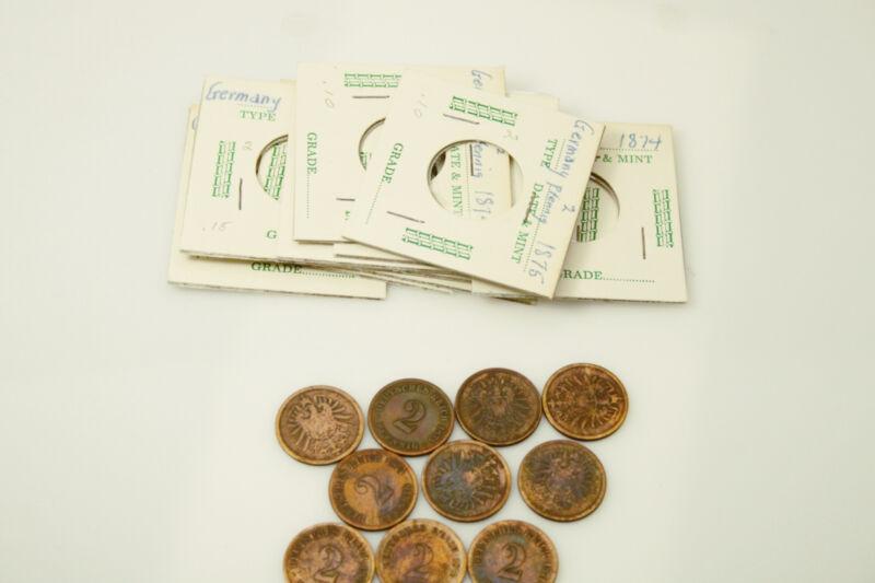 Lot of Ten German 2 Pfennig Coins (NUM3526)