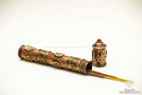 Tibetan Yoga Om Mani Padme Hum Prayer Incense Burner Stand Brass Holder Nepal