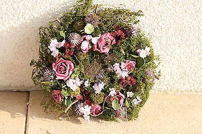 rkranz Blumenkranz  echte Blüten Tischdeko Moos Osterkranz (Lila Rosenblüten)