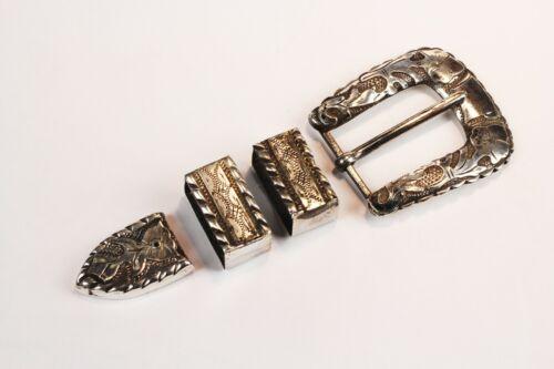 Vintage Sterling Silver Ranger Belt Buckle, End and Keepers - Set