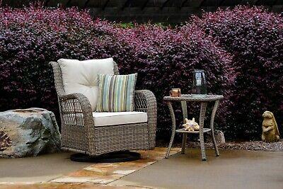2 Pc Outdoor Patio Wicker Rattan Swivel Glider Chair & Table w/ Shelf Deck Yard