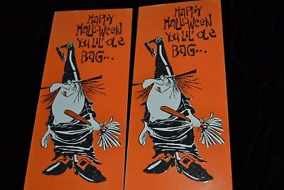 UNUSED Lot 2 Vtg 1960's HALLOWEEN Greeting Cards GOOFY WITCH OLE BAG - 1960s Halloween Cards