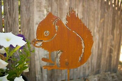 Squirrel Garden Stake   Metal Art Yard Garden Flower Bed Stake, Lawn Ornament