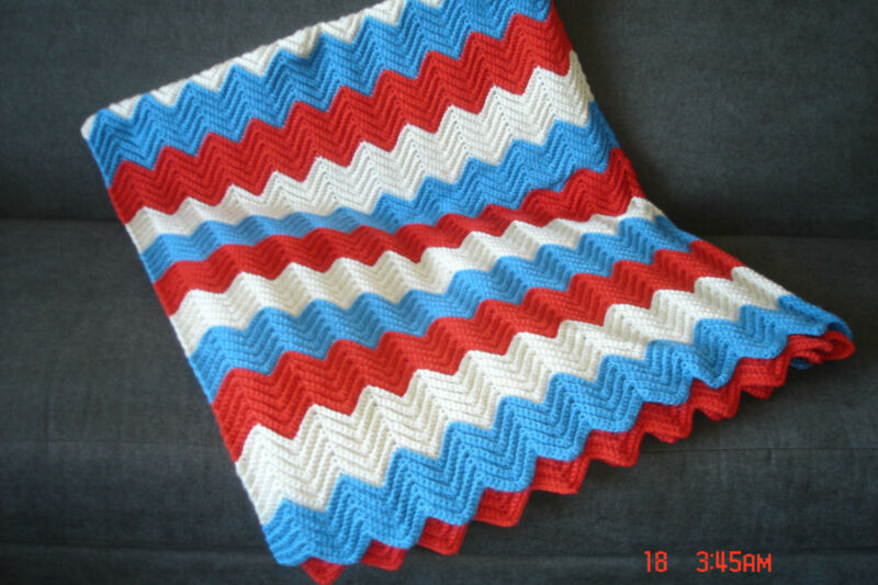 "Handmade Afghan Patriotic Colors 72"" x 60"" - Red, White, Blue"