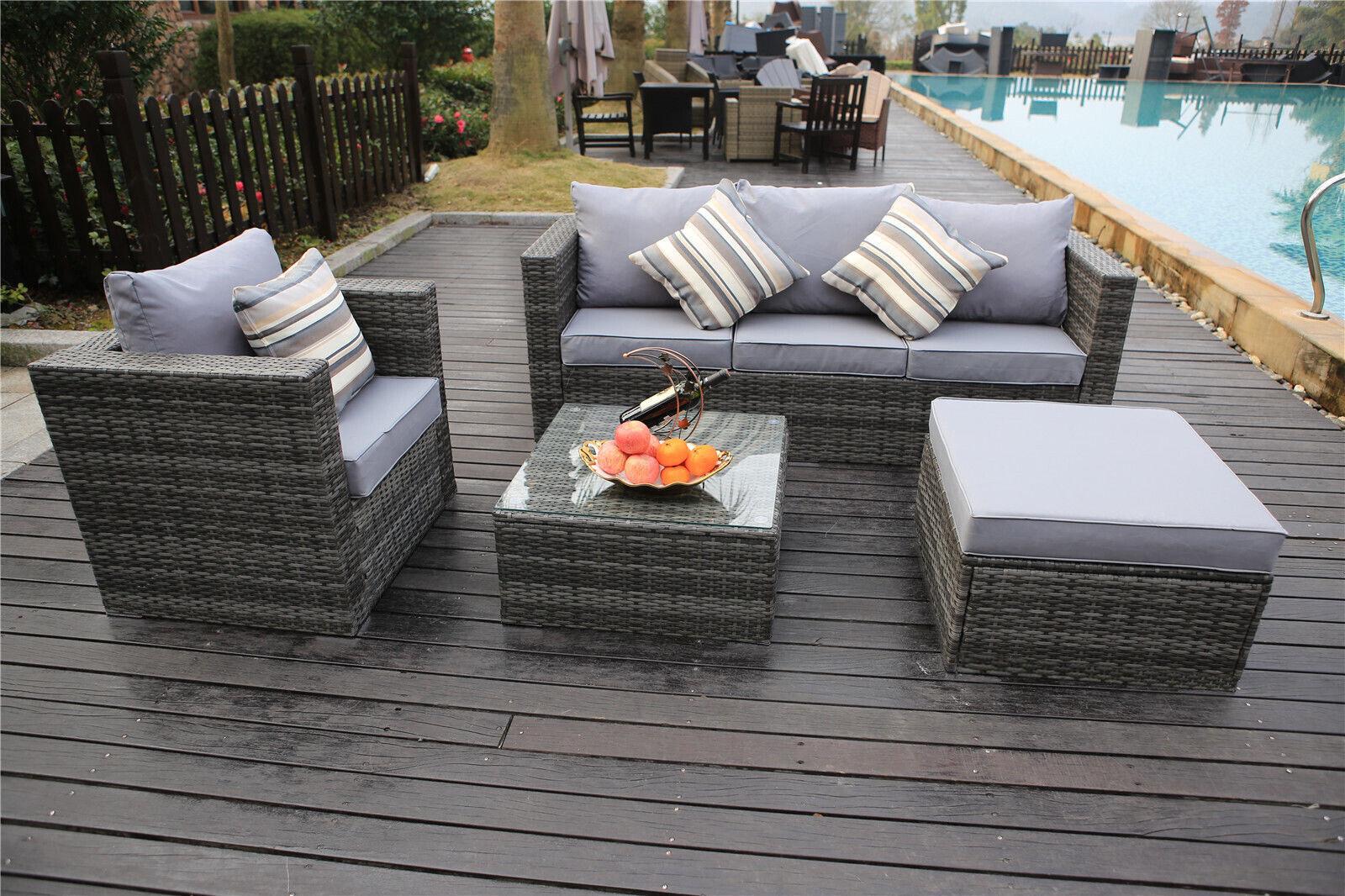 Garden Furniture - YAKOE RATTAN GARDEN FURNITURE SET SOFA TABLE CHAIRS GARDEN PATIO CONSERVATORY