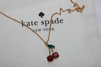 Authentic Kate Spade Cherry Mini Pendant Necklace NWT w/ KS Dust Bag