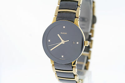 Ladies Rado Centrix R30930712 Black & Gold Diamond Marker Swiss Quartz Watch