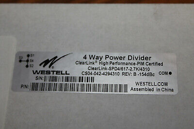 Westell 4 Way Power Divider -153 Pim High Power 300w 698-2700 Mhz 4.3-10 Conn