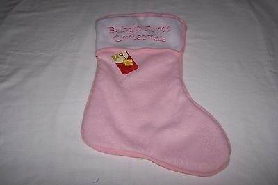 Baby's 1st Christmas Stocking PINK Holiday Collectible for Baby Gift Xmas