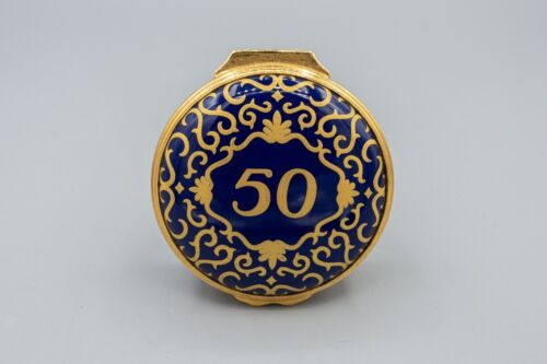 Halcyon Days Enamel Trinket Box 50 Cobalt Blue Gold Anniversary