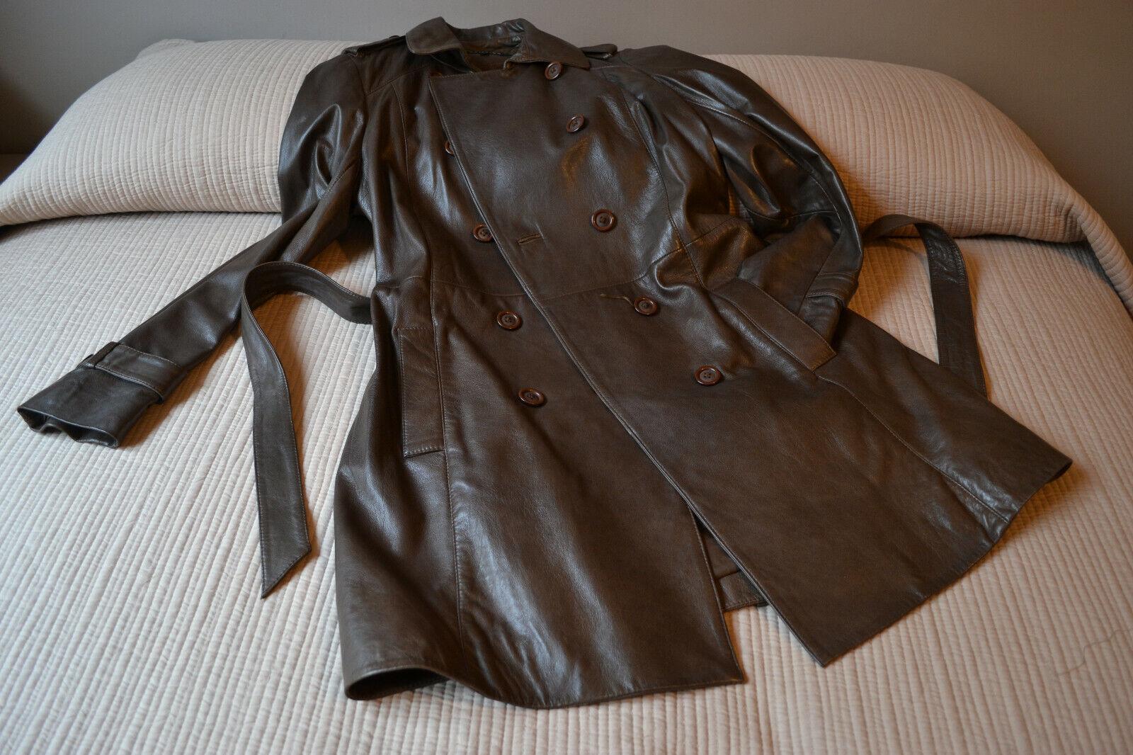 Superbe trench coat en cuir (marque debriefing) - agneau glacé marron - neuf