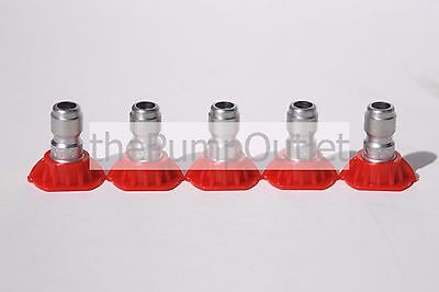 Set Of 5 0 Degree Red Pressure Washer Tip 3.5 Orfice By Mi-t-m Made In America
