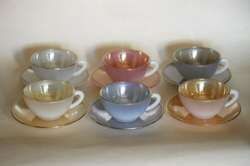 Vintage French opaline coffee set 6 cups Rainbow tea opalescent Harlequin