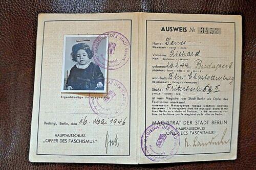 """WW2 OPFER DES FACSHISMUS 1946 """"VICTIM of FASCISM CARD"""" Berlin"""