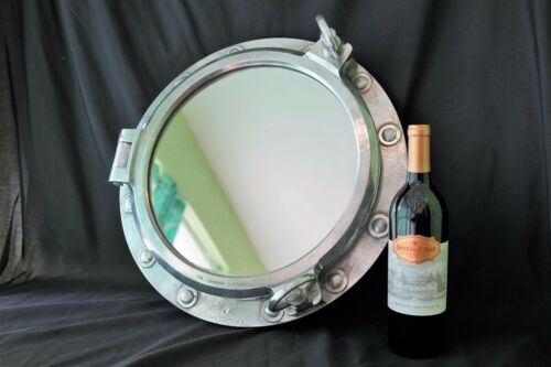 "Authentic Ship Salvage Marine 2 Dog Porthole Bathroom Mirror Nautical 19.25"" dia"