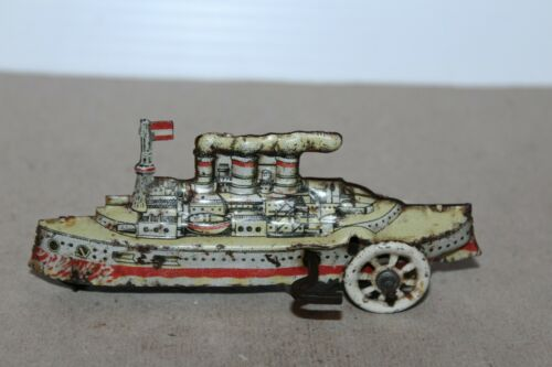 VINTAGE DISTLER TIN PENNY TOY WIND UP BATTLESHIP  made in GERMANY