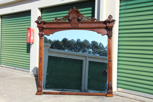 Spectacular Massive Walnut Victorian Mantle Mirror with Shell Crown Ca.1870