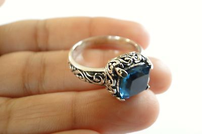 London Blue Topaz Solitaire 925 Sterling Silver Ring Size 6.25, 7.25, 8.25, 9.25