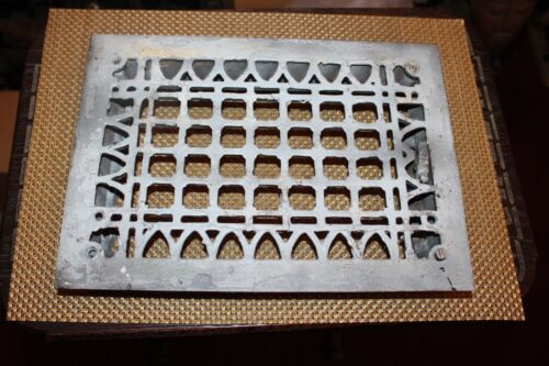 Antique Victorian Register Heating Grate Vent #24 Cast Iron Scrolls Rectangular