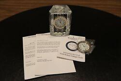 Waterford Crystal Colonnade Desk Clock Ireland ~4 x 3 x 1-1/2 ext clock incl