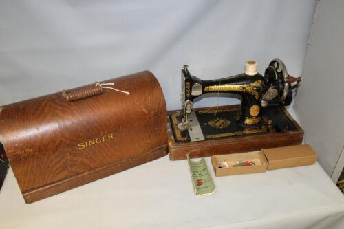 Antique Singer Model No. 28 Hand Crank Sewing Machine w/ Wooden Case Box