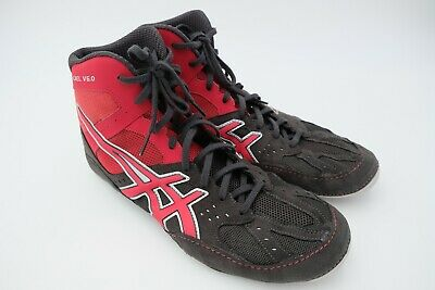 4d1ca65f93d Asics Men s Cael V6.0 Wrestling Shoe Charcoal Fire Red Silver Size US 11.5  Used