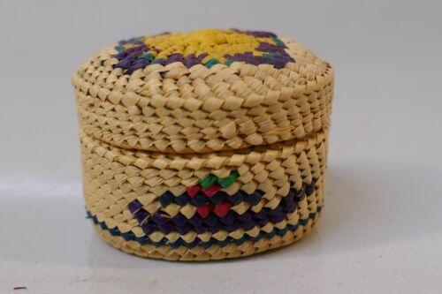 Native Nootka Woven Polychrome Miniature Treasure Basket - Geometric Design