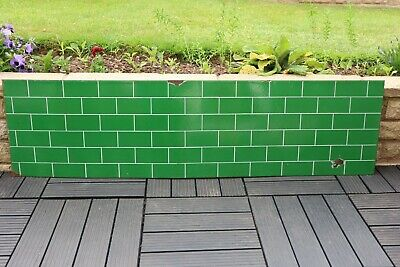 1930s VINTAGE LARGE HEAVY ENAMEL GREEN BRICK DESIGN SIGN /  FRIEZE / PANEL