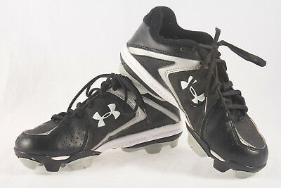 cfbd336ac Boys Under Armour Leadoff III Baseball Cleats ~ Used Clean ~ Black White ~Sz  2.5