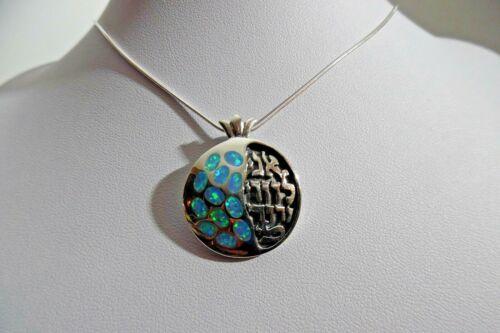 PJ01 Judaism Silver pendant Ani Ledodi Opal Gemstone Judaica Pomegranate