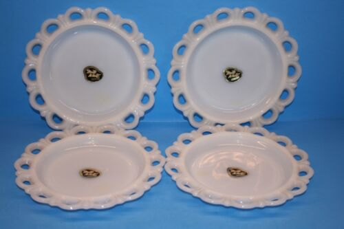 ANCHOR HOCKING OLD COLONY OPEN LACE EDGE DECO Plates - Original Stickers
