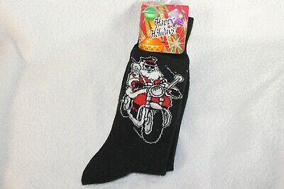 Santa on Motorcycle socks, mens 10-13 ()