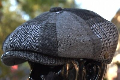 Thick Wool Herringbone Newsboy Cap, Patchwork Applejack Tweed Golf Hat Ns2760Gry