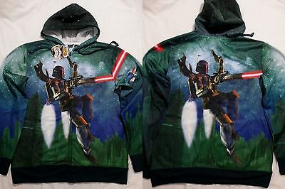 Star Wars Boba Fett Shooting Gun Costume Zip up Hoodie Jacket Shirt - Star Wars Costume Hoodie