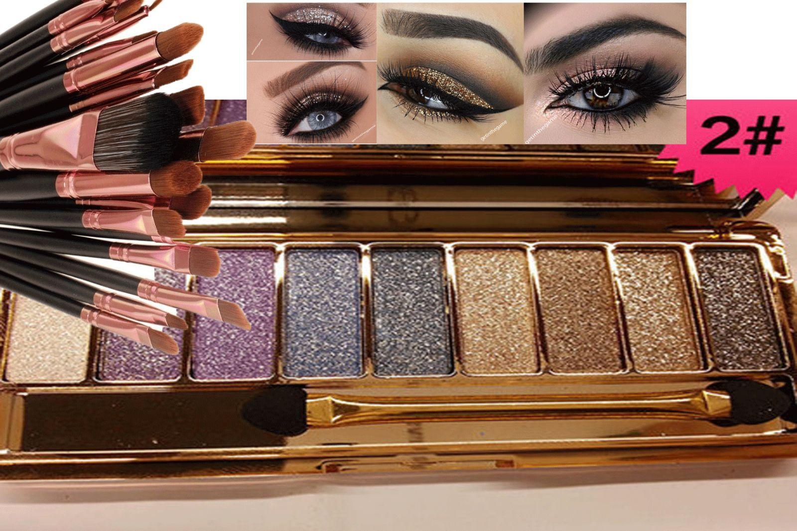 9 Colors Glitter Eyeshadow Eye Shadow Palette & Makeup Cosmetic Brush Set NEW