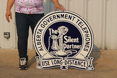 """Large Alberta Government Telephone Gas Oil 2 Sided 30"""" Porcelain Metal Sign"""