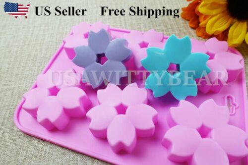 DIY 6 Cavity Sakura Flower Shaped Silicone Handmade Soap Mold US Seller