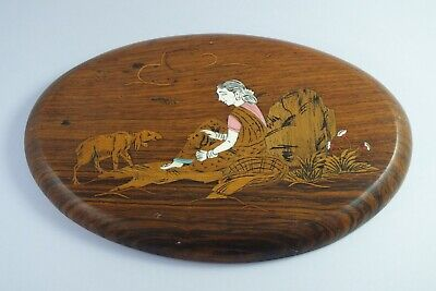 Vintage Indian Wooden Marquetry Inlaid Wall Plaque - Woman Tending Sheep