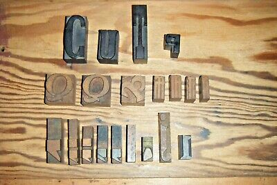 Letterpress Wooden Wood Type Printing Blocks Letters Punctuations Lot Of 20