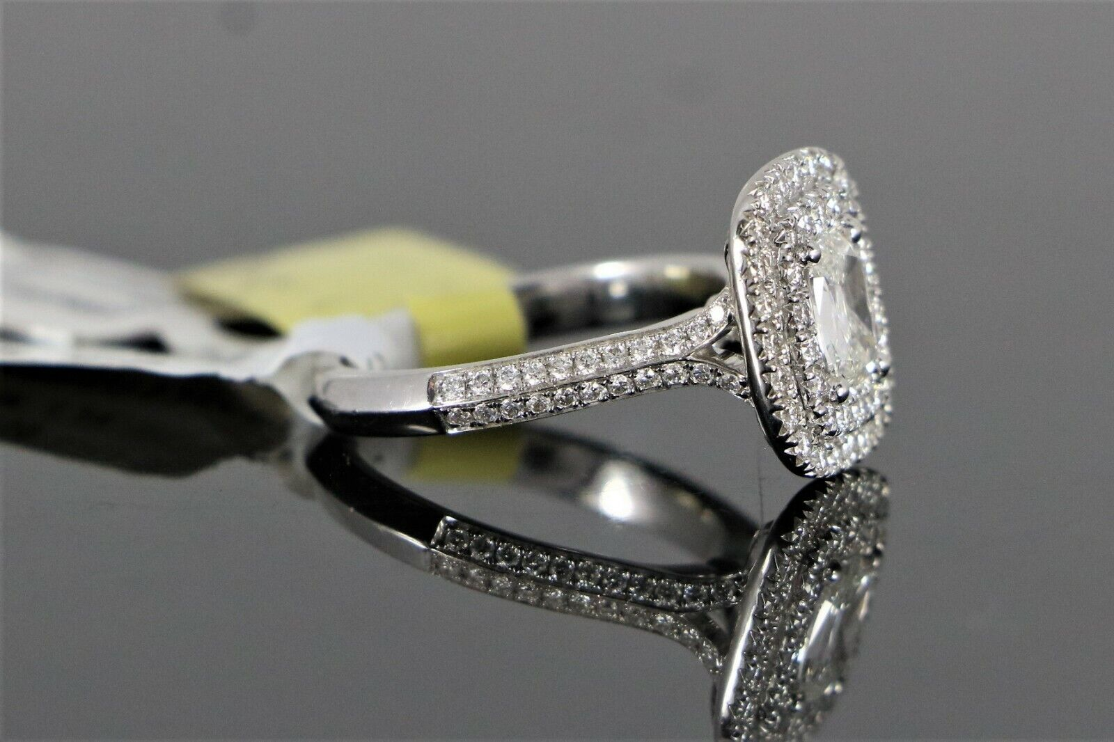 $5,150 S&S 14K White Gold 1.14ct GIA SI2 Cushion Diamond Halo Engagement Ring 6 7
