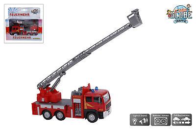 Kids Globe Traffic Feuerwehrauto mit Drehleiter, Spielzeug mit Licht und Sound