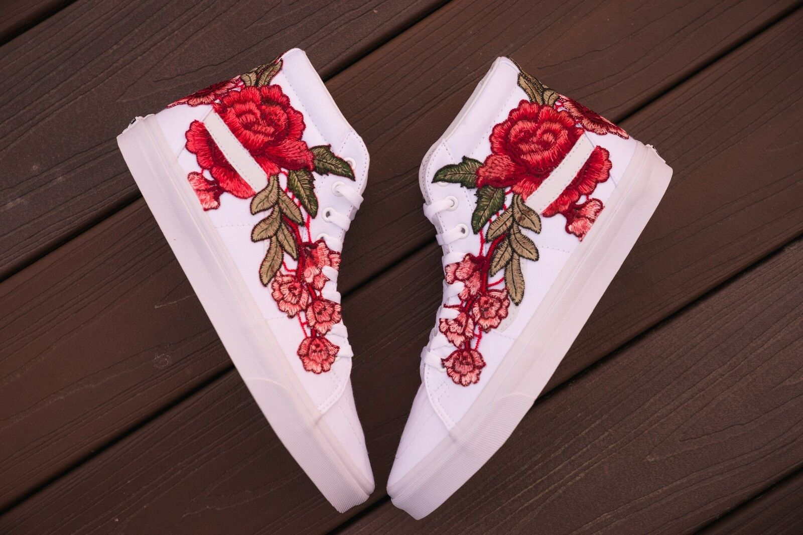 Custom Red Rose Sk8 Hi Vans sz 11 Brand New Ready To Ship Bape Off White