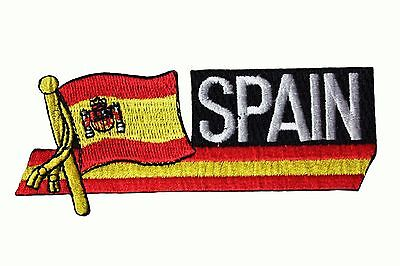 SPAIN SIDEKICK WORD Country Flag Iron-On PATCH CREST BADGE 1.5 X 4.5 (Spain Country Flag)