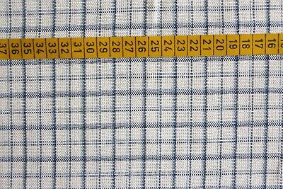 Dekostoff Möbelstoff schwere Baumwollmischung creme/blau 400x134 cm  - Creme Baumwolle Mischung