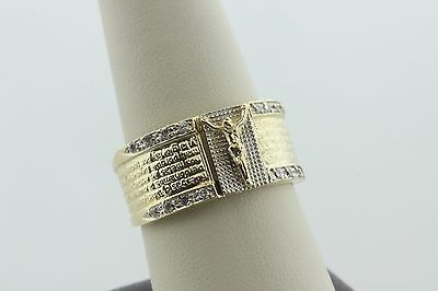 14K Yellow & White Gold Padre Nuestro Lords Prayer CZ Crucifix Ring - Sz 10